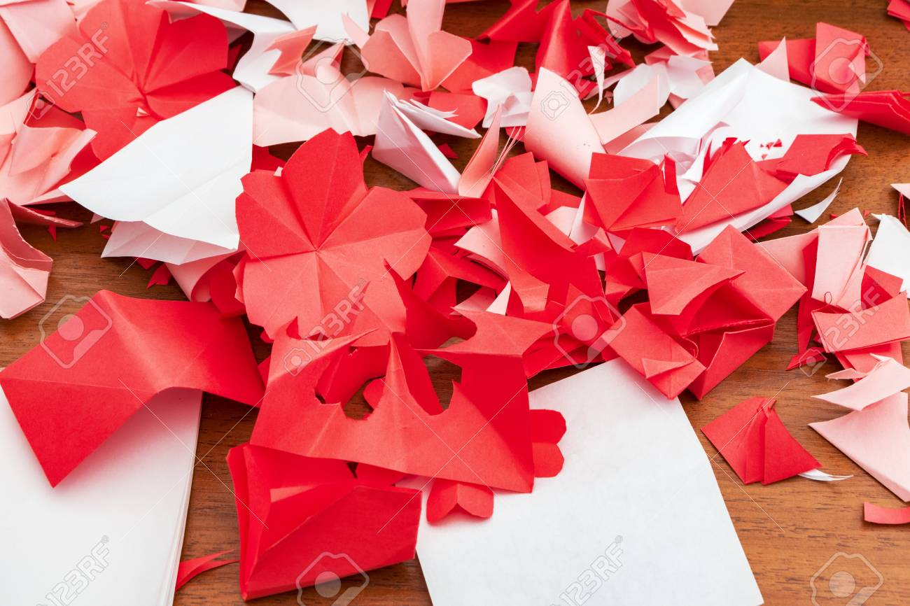 Cut Flowers From Paper Creating Origami Flowers Stock Photo