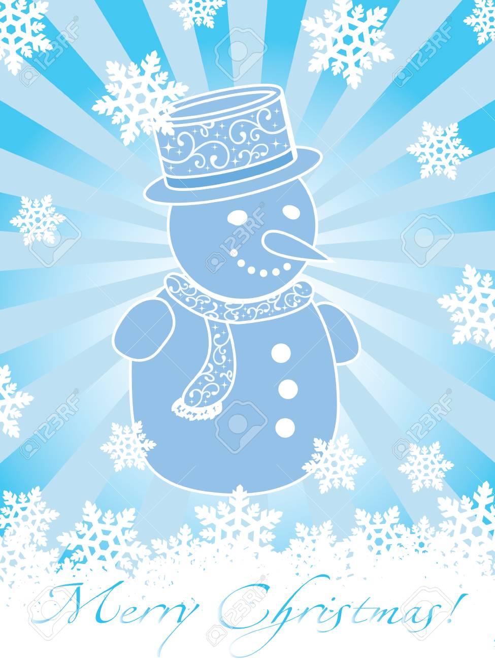 Christmas card with snowman and snowflakes on blue background with rays Stock Vector - 3806440