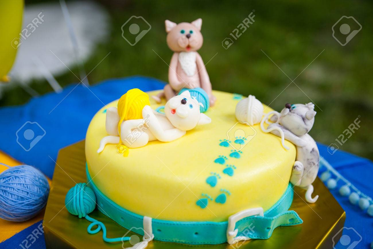 Birthday Cake With Kittens Playing Yellow And Turquoise Yarn Balls Stock Photo