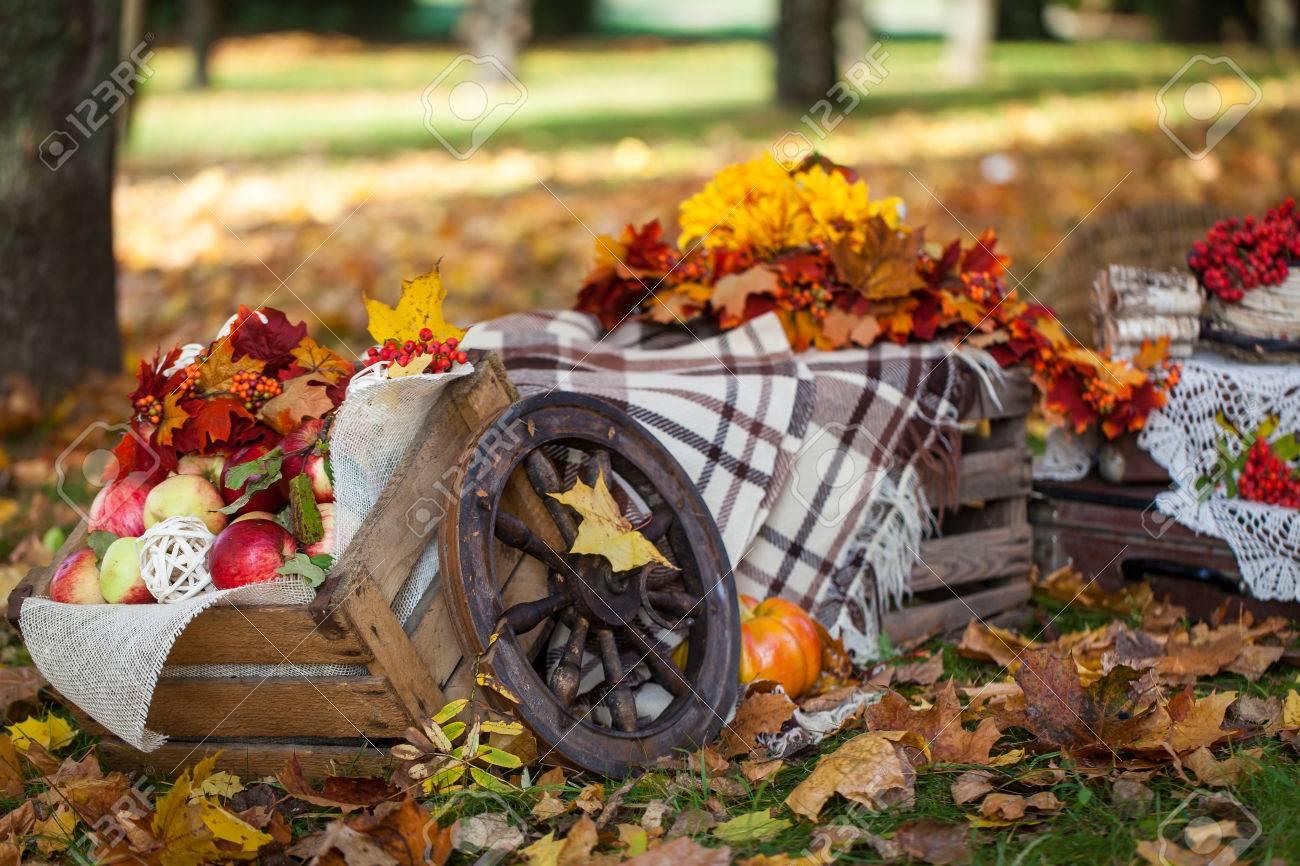 automne dcor de jardin avec des livres des fleurs des botes avec des pommes