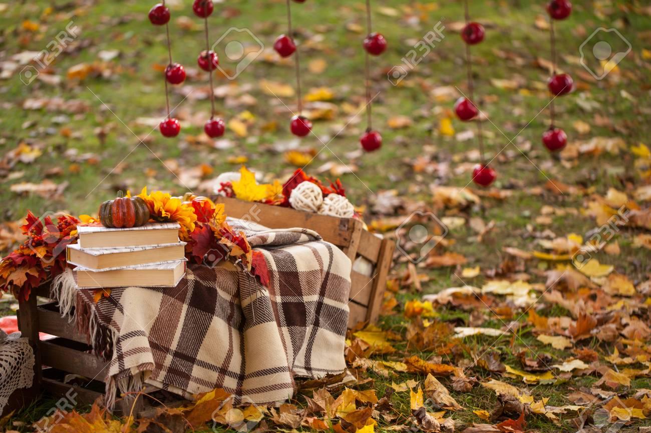 Livres de décoration de jardin d\'automne, des fleurs, des boîtes à la pomme  rideau