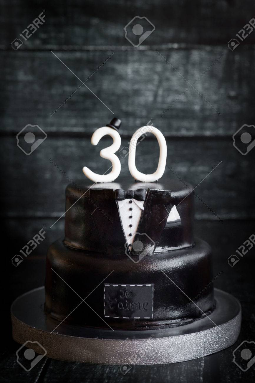 White And Black Tuxedo Wedding Or Mans Birthday Cake With