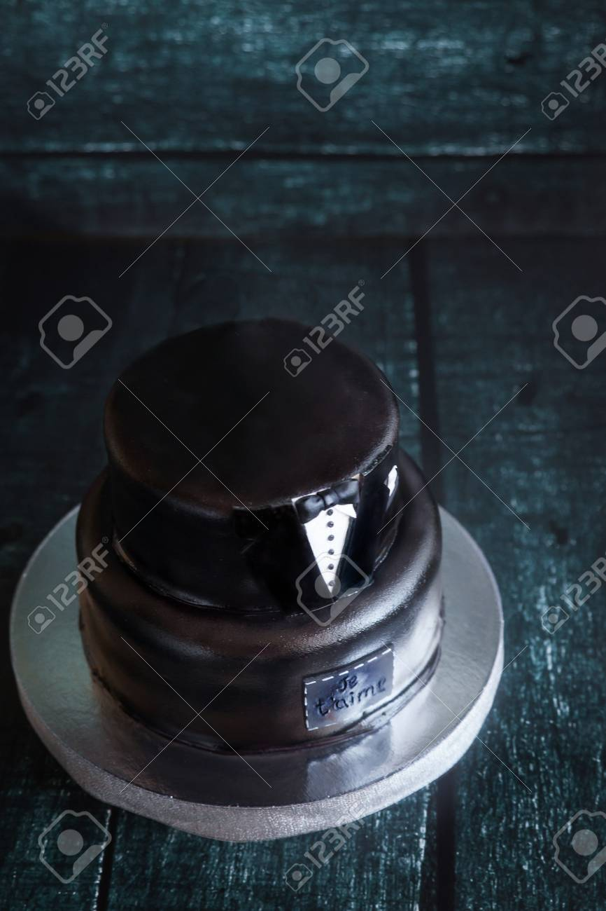 White And Black Tuxedo Wedding Or Mans Birthday Cake With The