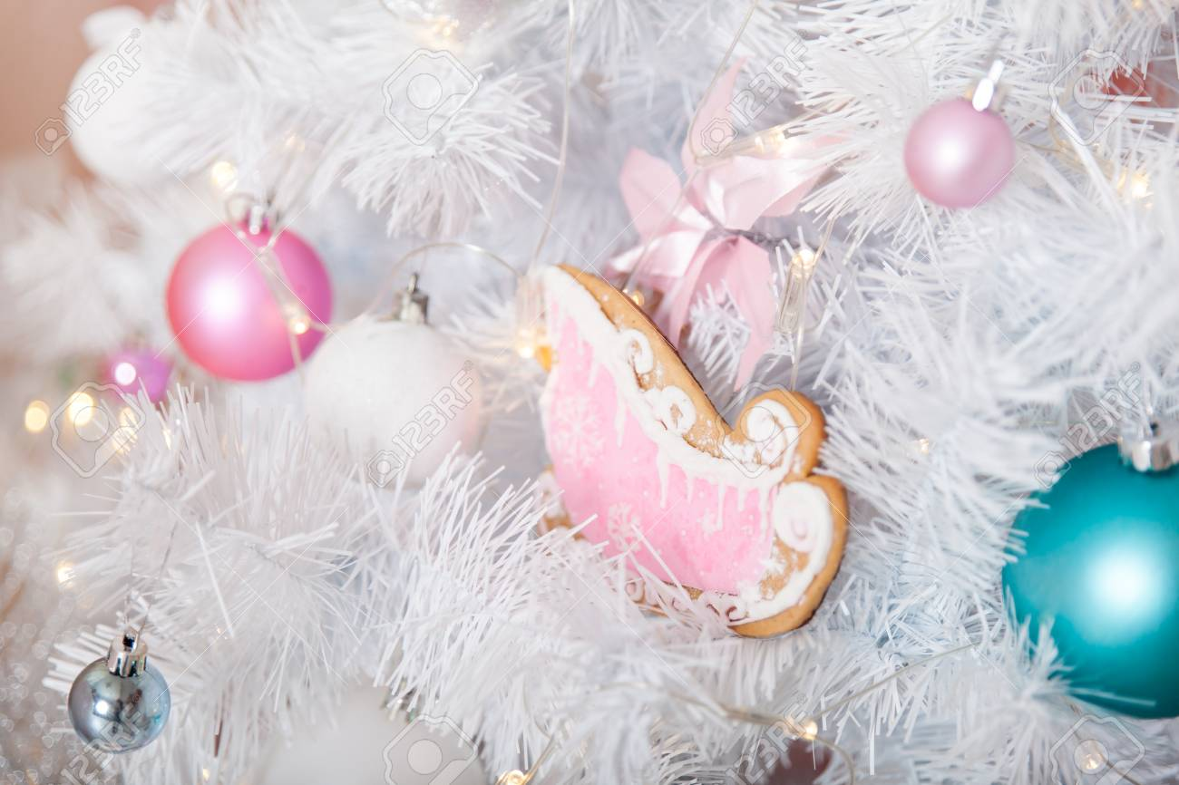 christmas pastel decorations in a studio stock photo 85815447