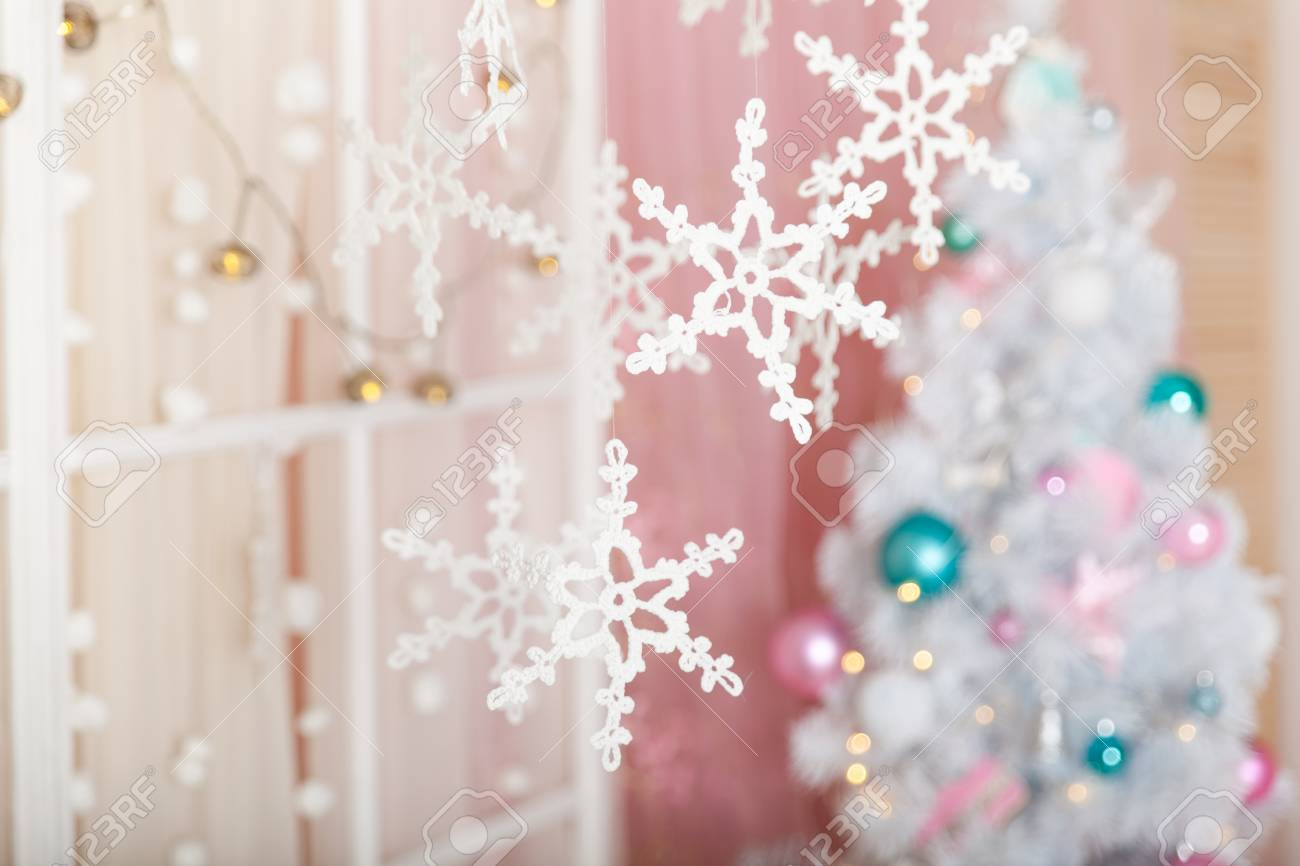 christmas pastel decorations in a studio stock photo 85815450