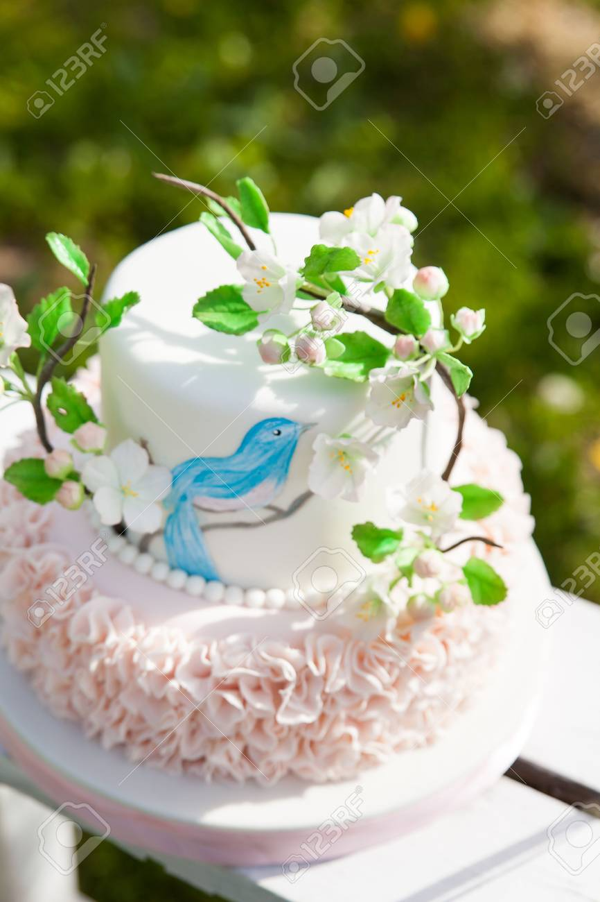 Elegant Wedding Or Birthday Cake Decorated With Pink Ruches And Apple Blossom Branch Blue Bird