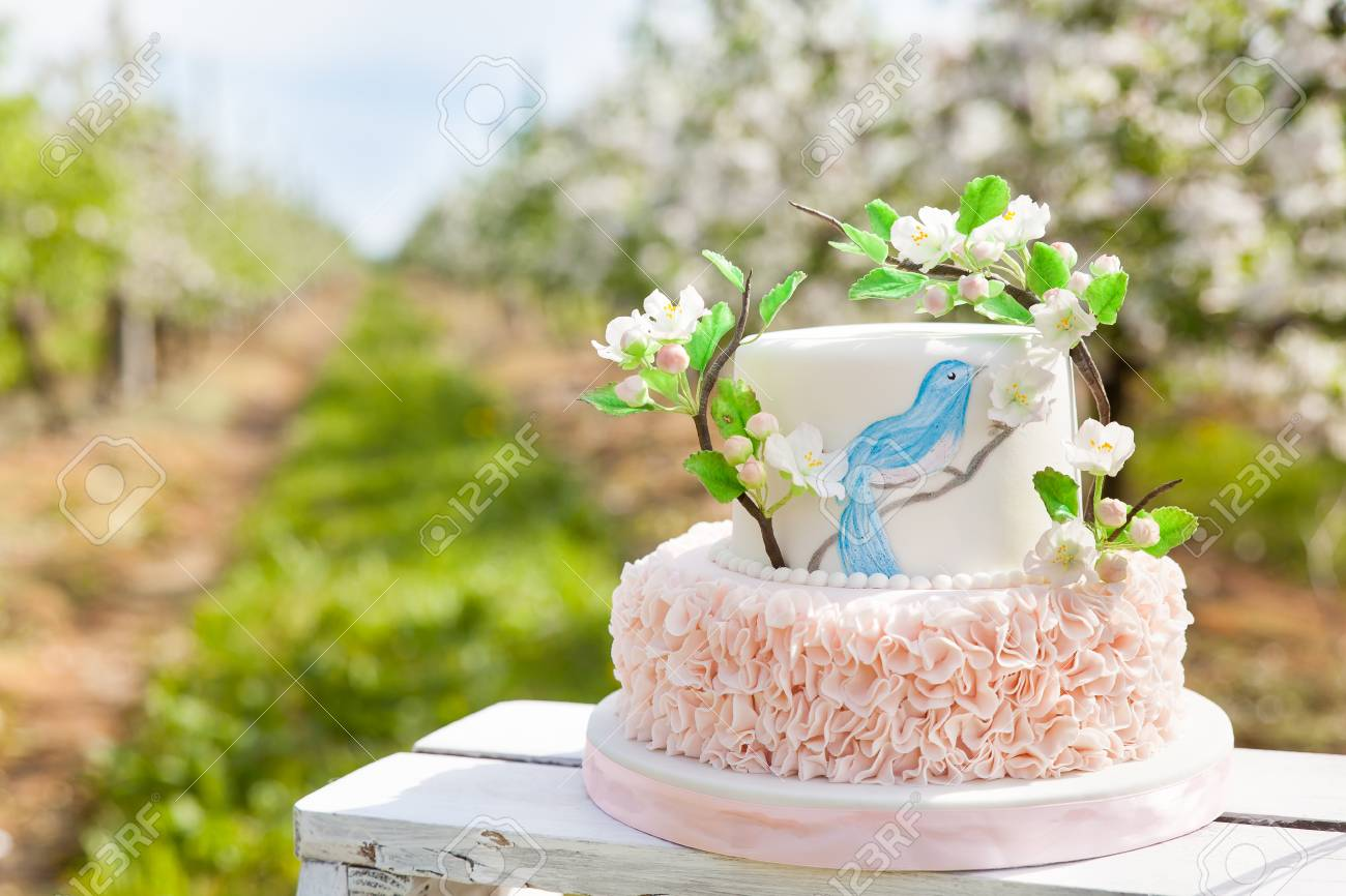 Fabulous Elegant Wedding Or Birthday Cake Decorated With Pink Ruches And Funny Birthday Cards Online Fluifree Goldxyz
