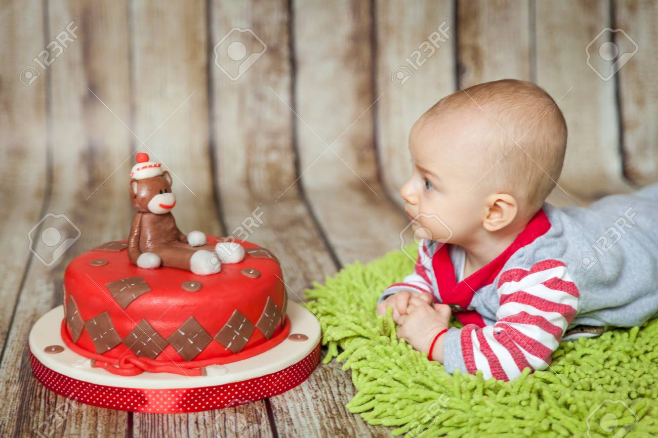 Mini Birthday With Sock Monkey Theme Cute 6 Months Baby Boy In A Costume