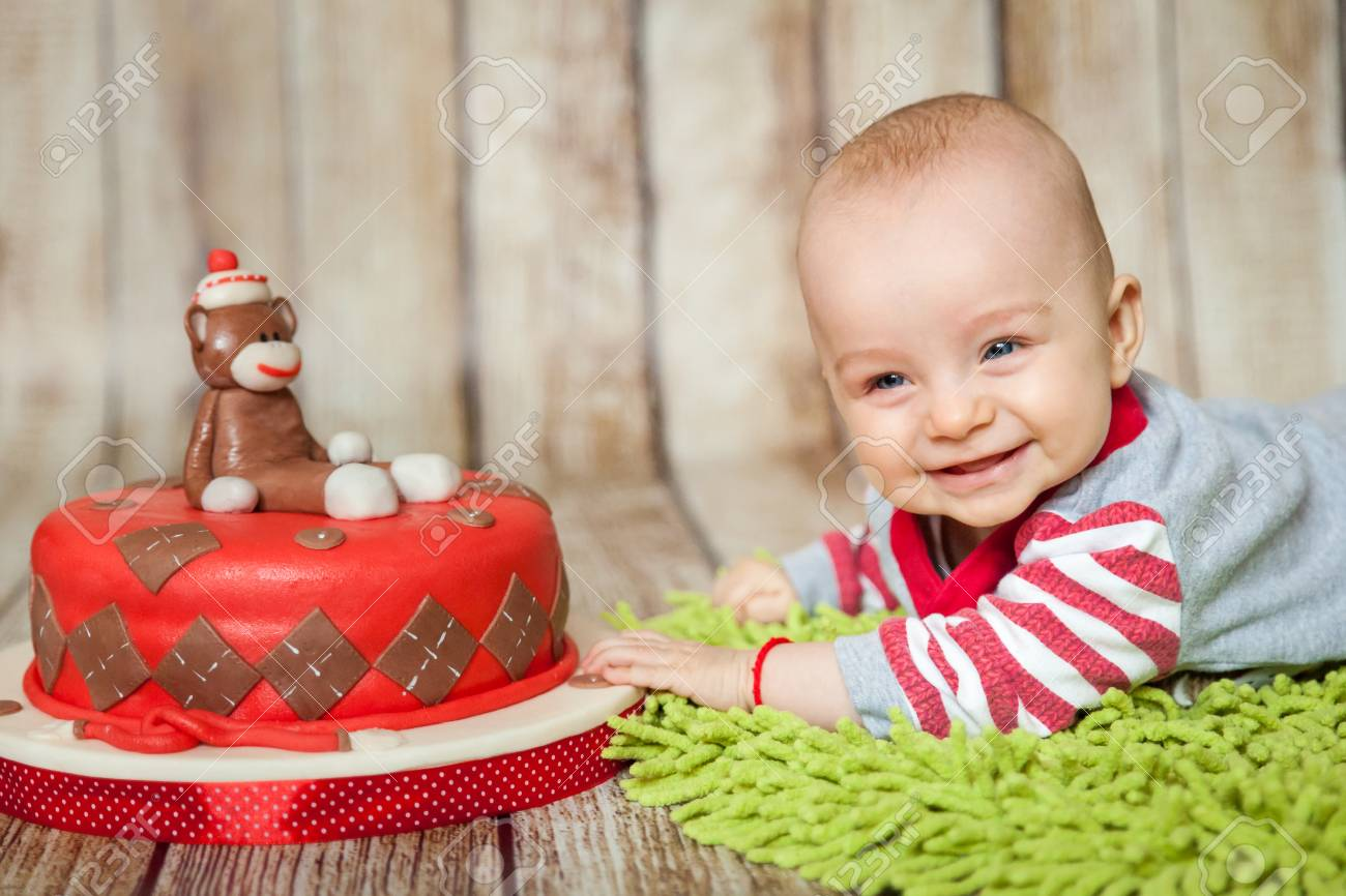 Fantastic Mini Birthday With Sock Monkey Theme Cute 6 Months Baby Boy Funny Birthday Cards Online Barepcheapnameinfo