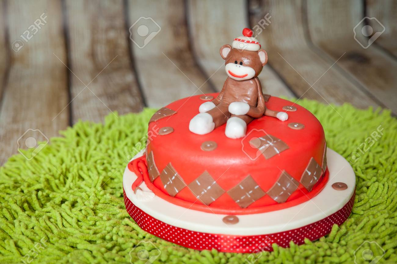 Incredible Sock Monkey Theme Birthday Cake Sweet Dessert With Mastic Stock Funny Birthday Cards Online Barepcheapnameinfo