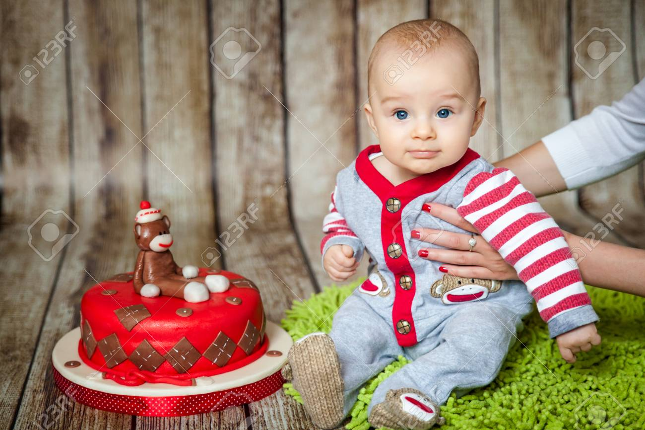 Incredible Mini Birthday With Sock Monkey Theme Cute 6 Months Baby Boy Funny Birthday Cards Online Barepcheapnameinfo