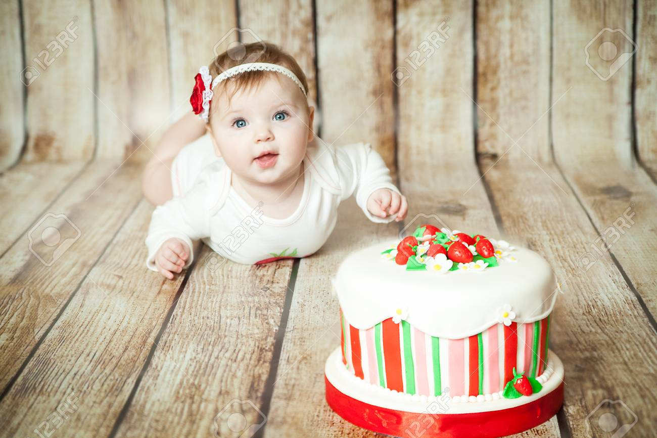 Mini Birthday With Strawberry Theme Cute 6 Months Baby Girl A Sweet Party Cake