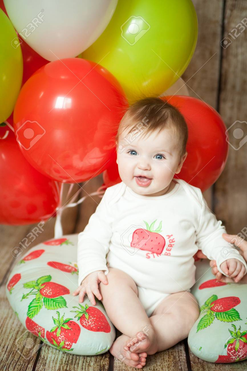 Mini Birthday With Strawberry Theme Cute 6 Months Baby Girl Colorful Balloons Stock Photo