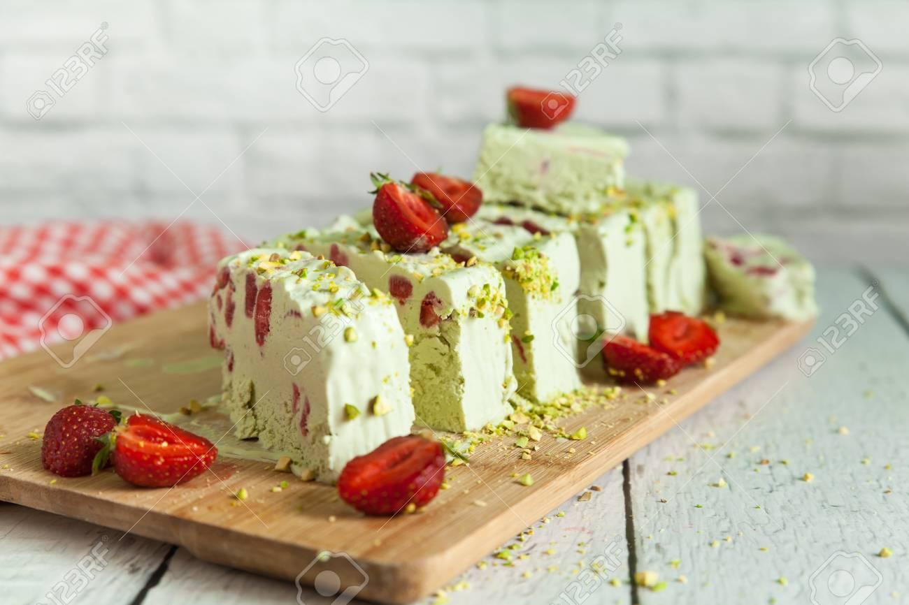 Pistachio and Strawberry Ice Cream Textile Applique Original Picture