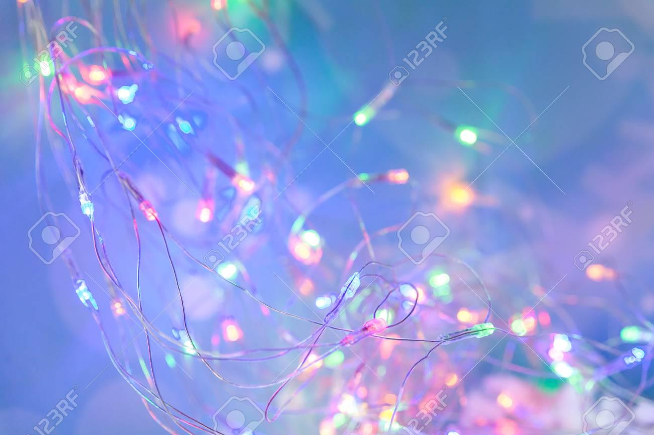 Pink Christmas Lights.Bokeh Or Blurred Christmas Background Blur Blue And Pink Christmas
