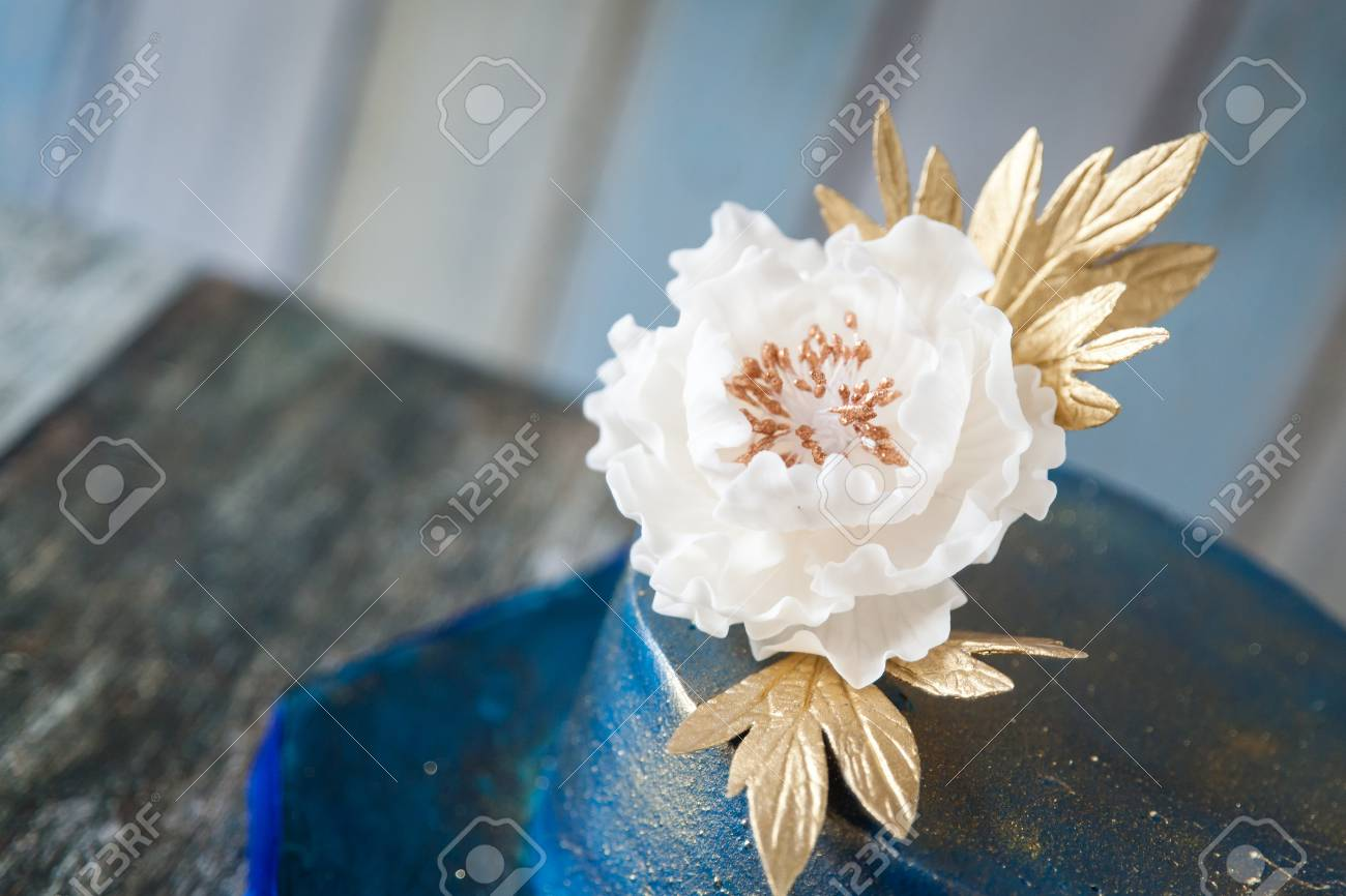 Blue And Gold Wedding Cake With A Big Sugar Flower 2 Tier Blue