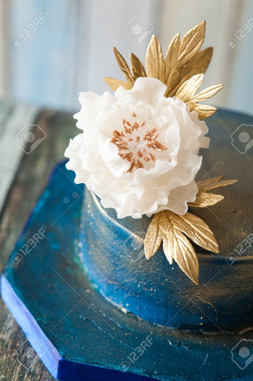 Blue And Gold Wedding Cake With A Big Sugar Flower 2 Tier Elegant Birthday
