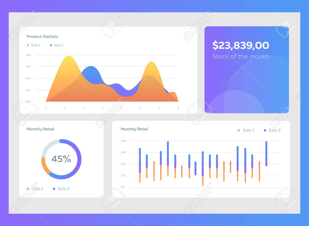 Infographic dashboard template with flat design graphs and charts. Information Graphics elements - 102200531