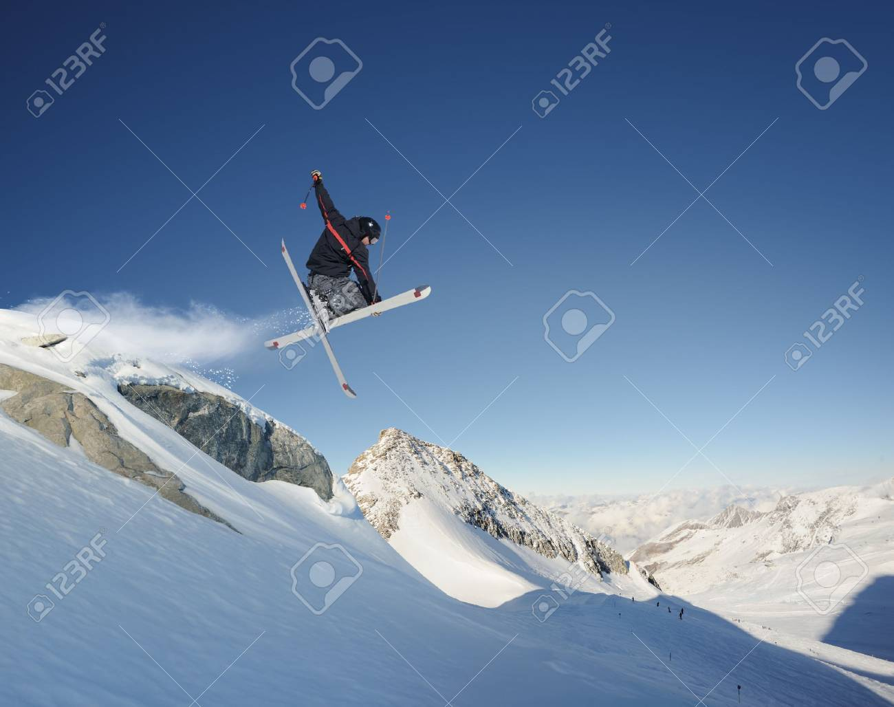 Jumping skier Stock Photo - 10398464