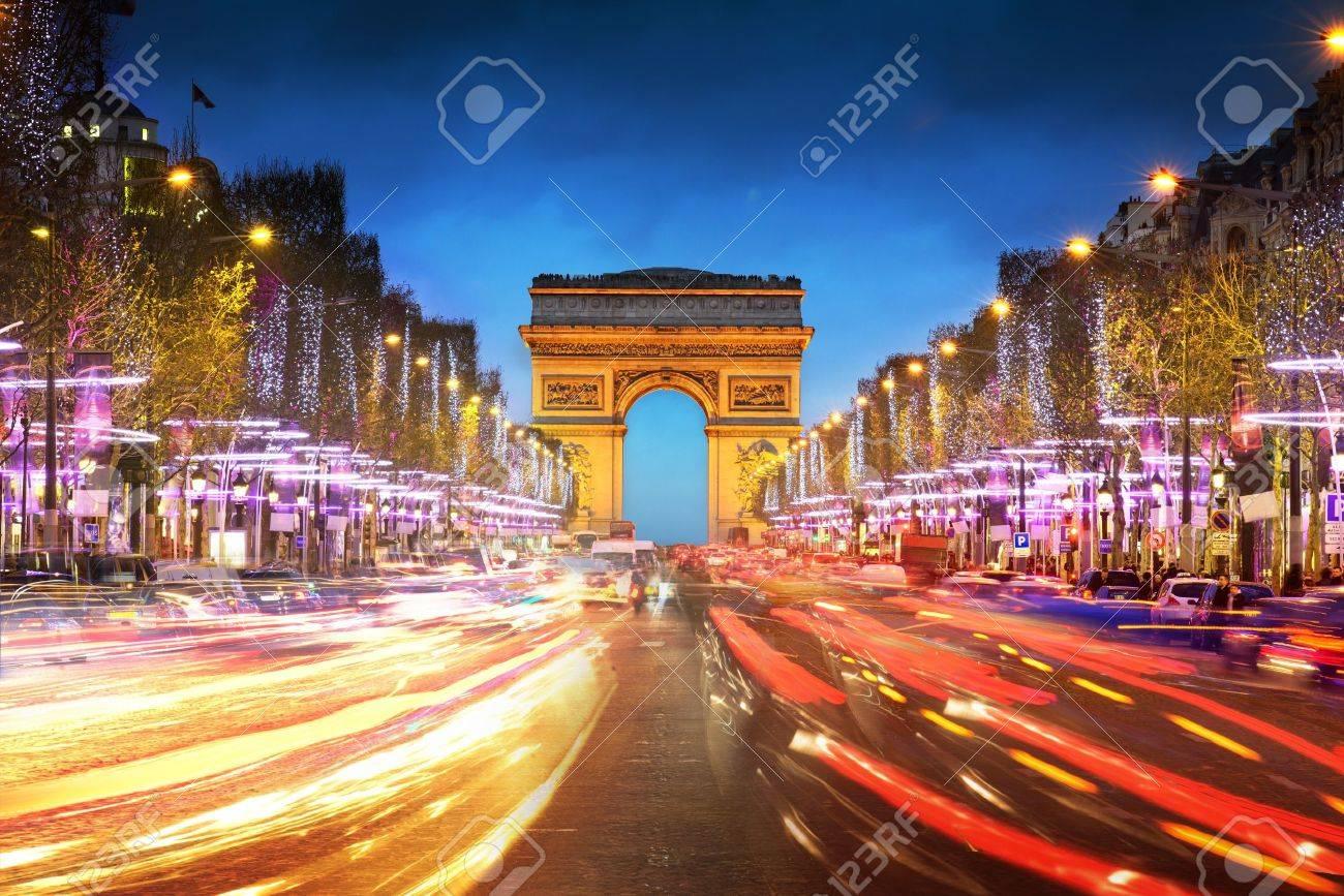 Arc de triomphe Paris city at sunset - Arch of Triumph and Champs Elysees - 17853310