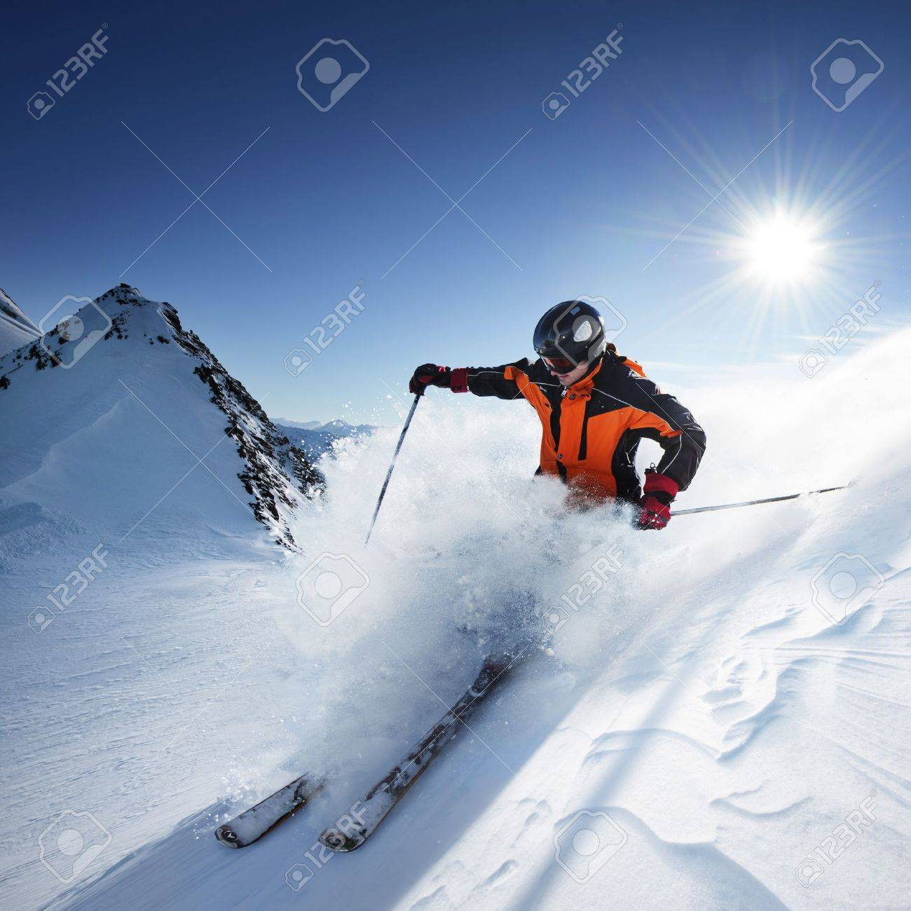 Skier in high mountains - 17753050