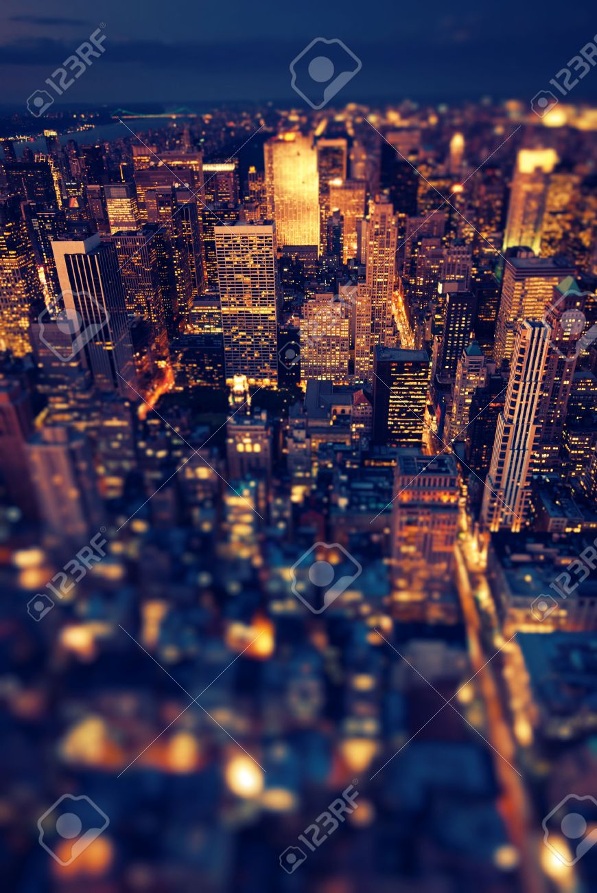 New York Manhattan at night with soft focus - 26117342