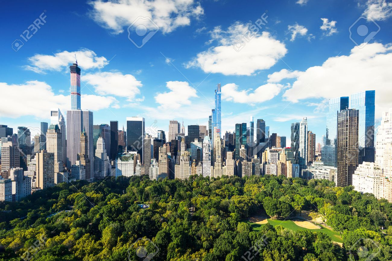 New York City - central park view to manhattan with park at sunny day - amazing birds view - 32773910