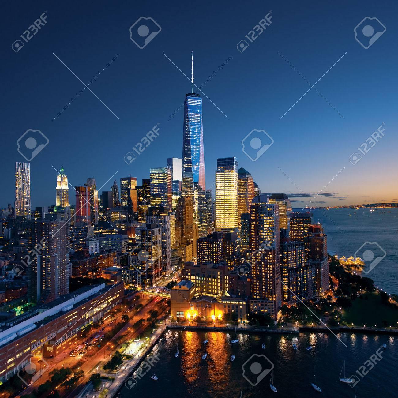 New York City - beautiful colorful sunset over manhattan - 32773913