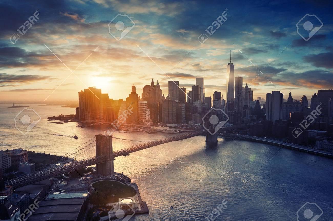 New York City - Manhattan after sunset , beautiful cityscape - 37609749
