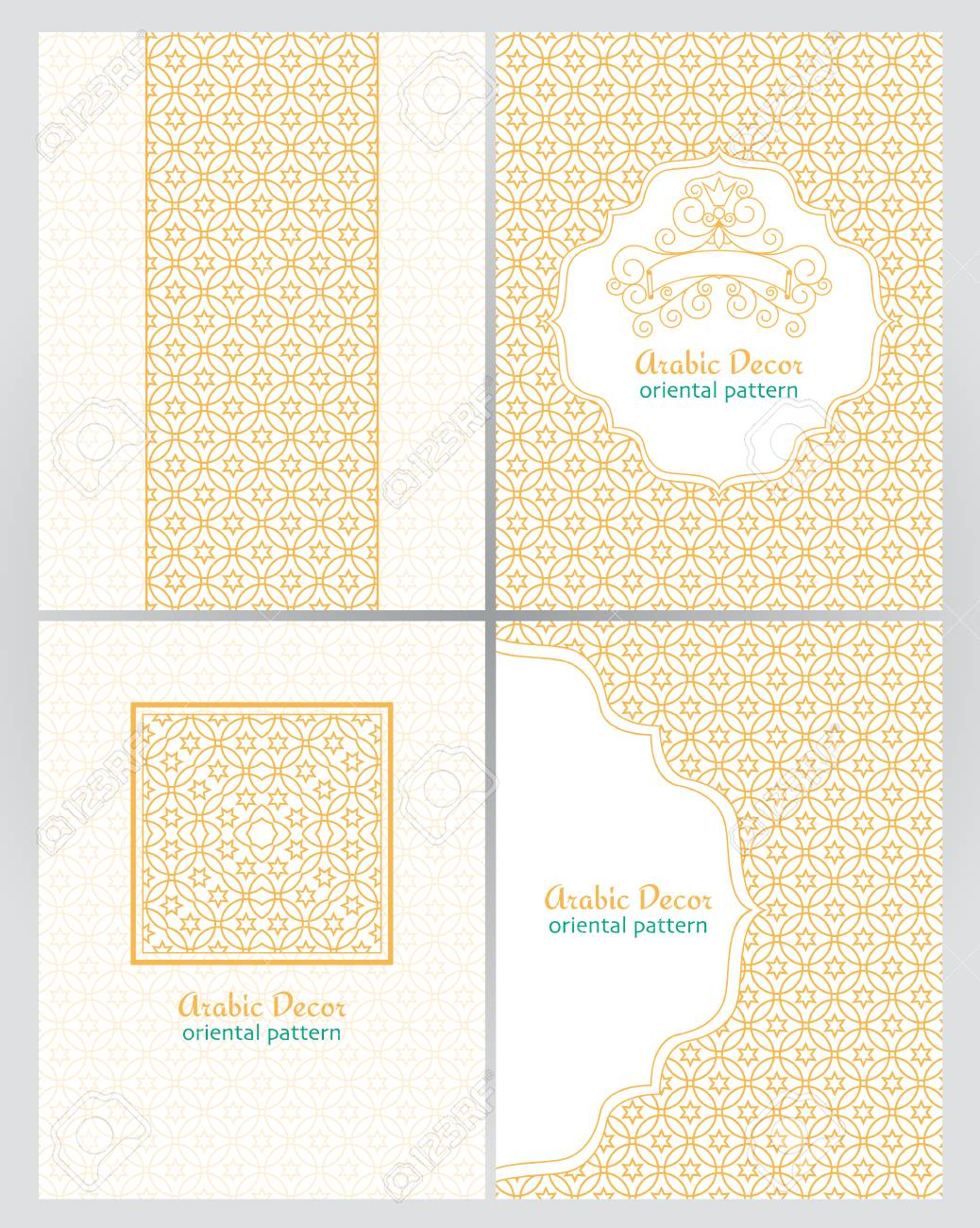 Vintage Ornate Cards In Oriental Style Golden Traditional Arabic