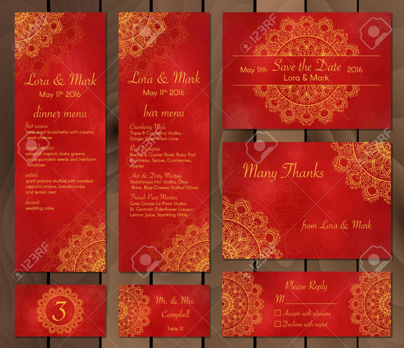 Collection Of Ethnic Cards,menu Or Wedding Invitations With Indian ...