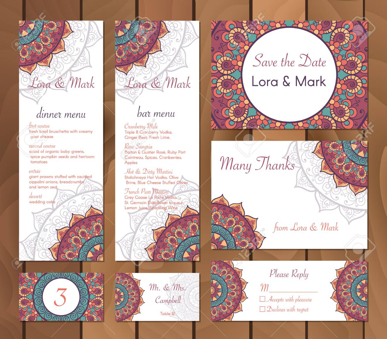 Collection Of Ethnic Cardsmenu And Wedding Invitations With