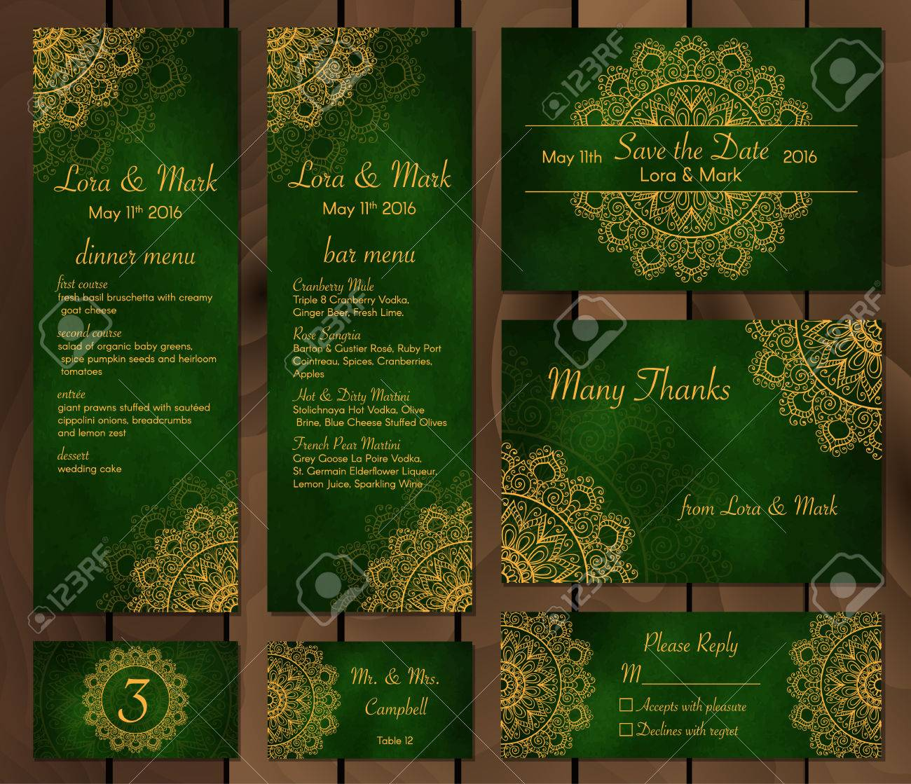 Collection Of Ethnic Cards Menu And Wedding Invitations With