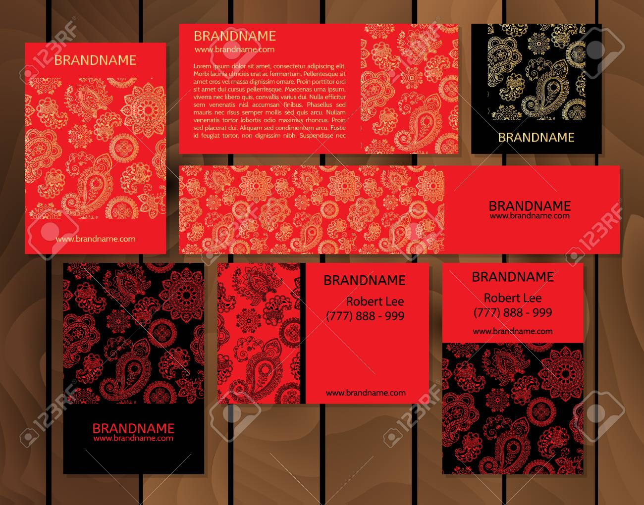 Vector Set Of Business Cards Flayers Banners With Oriental Pattern ...