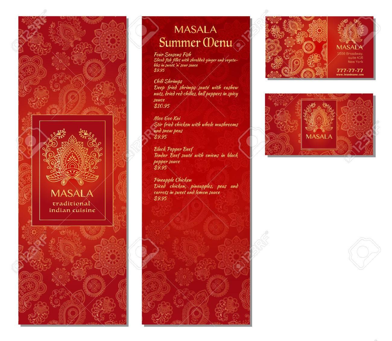 Vector Illustration Dune Conception De Modle Carte Menu Pour Un Restaurant Ou Caf Cuisine Orientale Indienne Asiatique Arabe Et