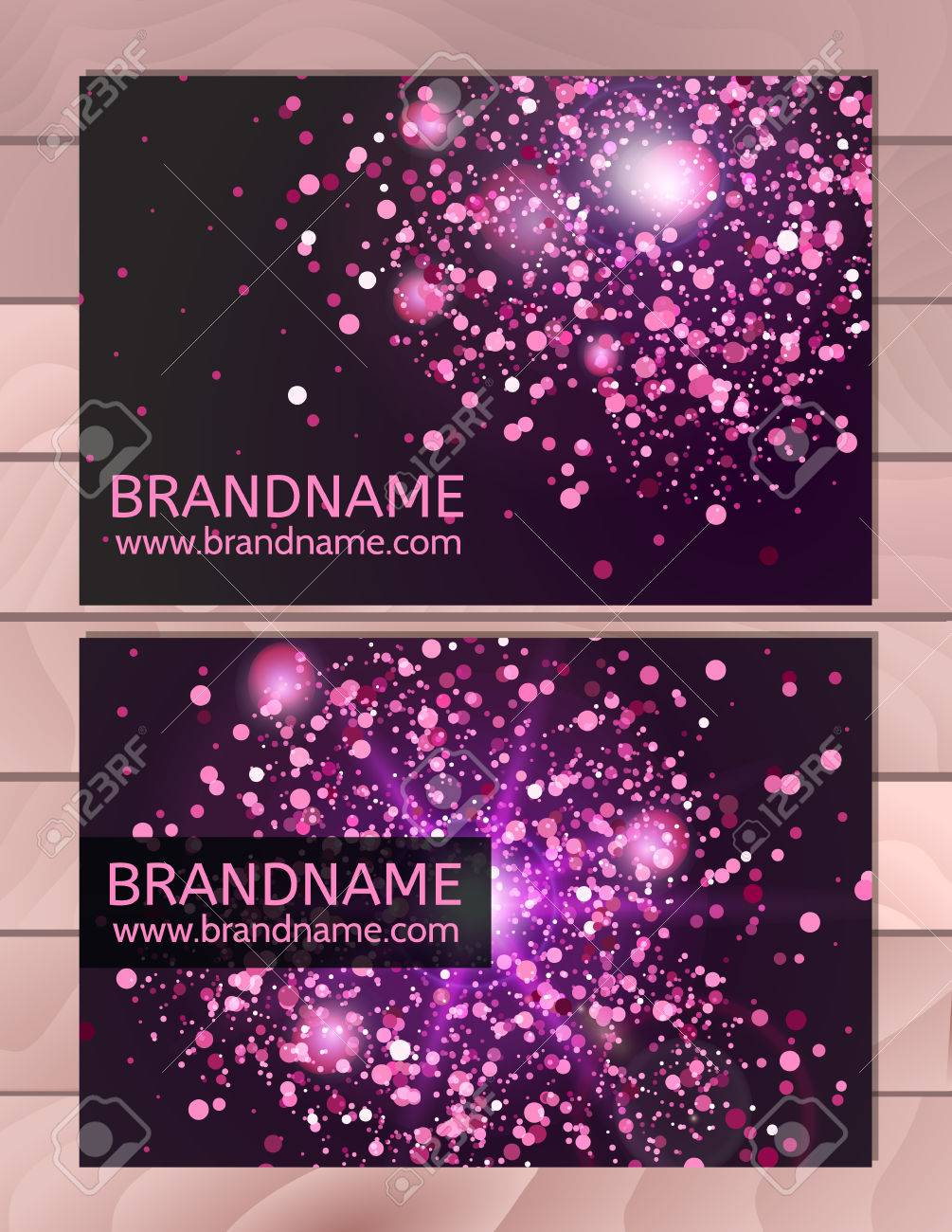 Violet Gift Business Card Template With Abstract Pattern, Glitter ...