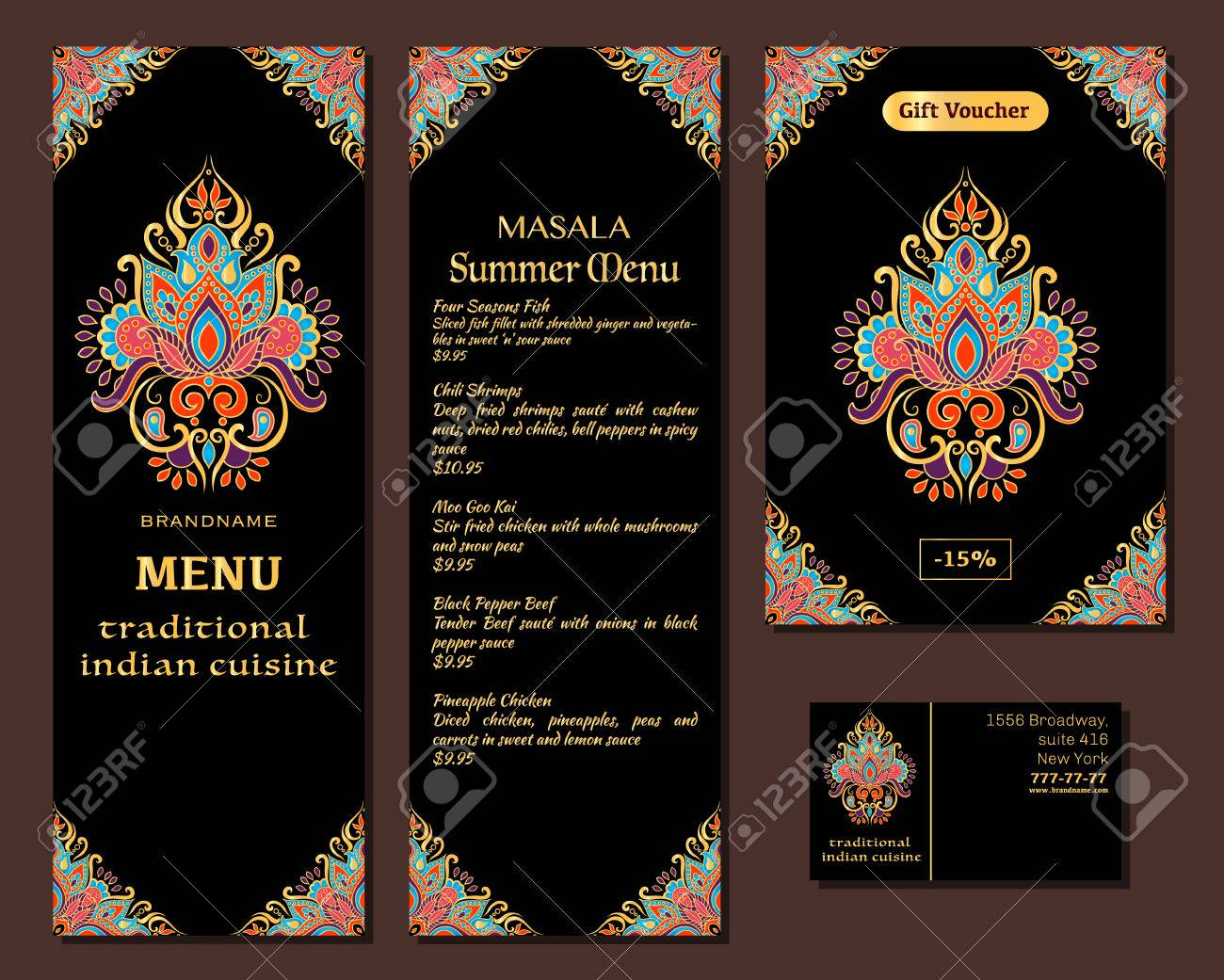 Indian Food Restaurant Menu Template Royalty Free Cliparts Vectors