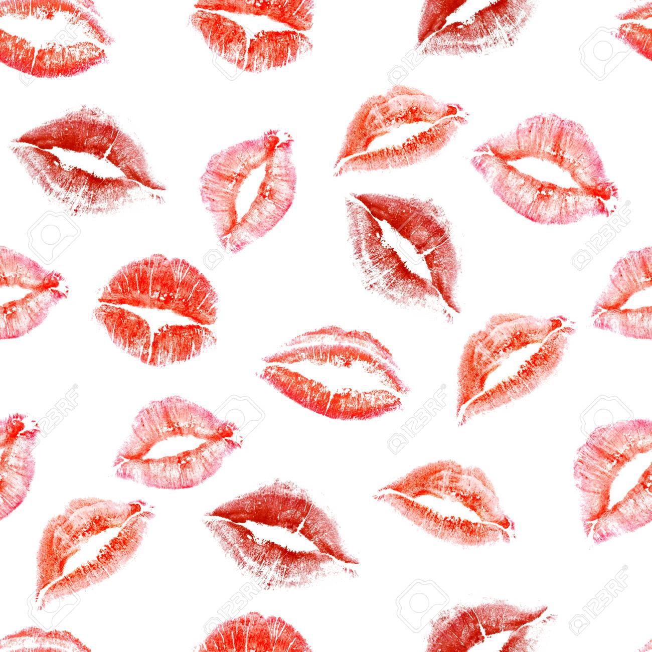 Nahtloses Muster Von Fingerabdrucken Von Liebeskussen Auf Weissem