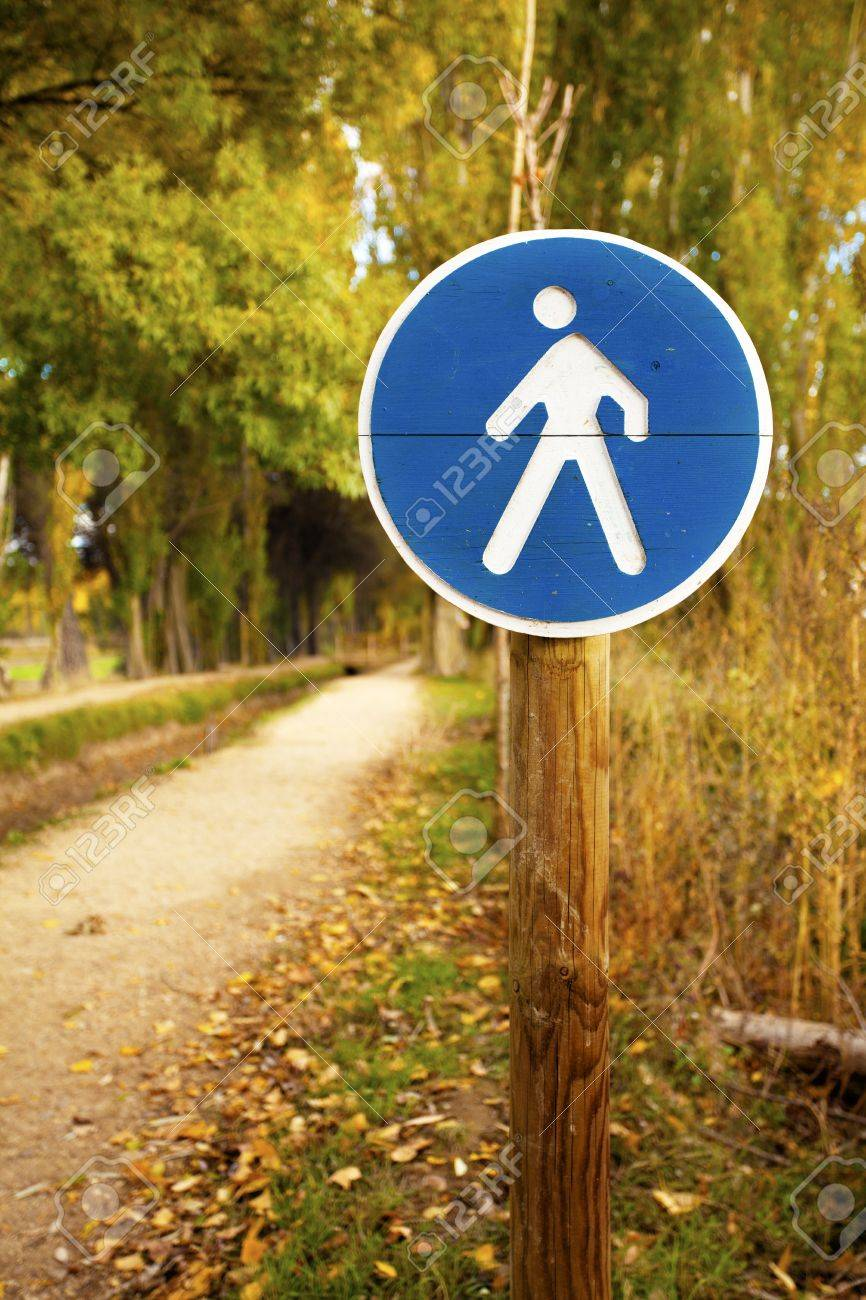 Pedestrian crossing sign on a forest trail Stock Photo - 16354414