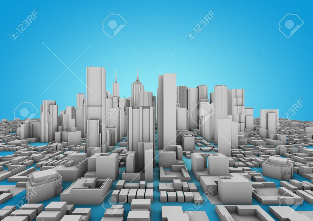 white city on a blue background Stock Photo - 10414952