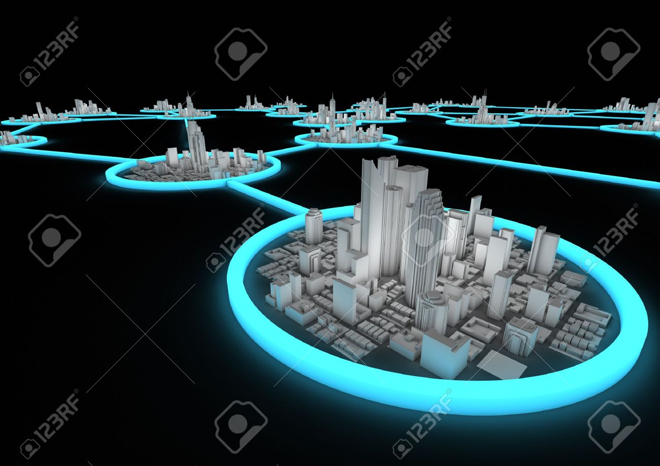 several connected cities in a network Stock Photo - 10414964