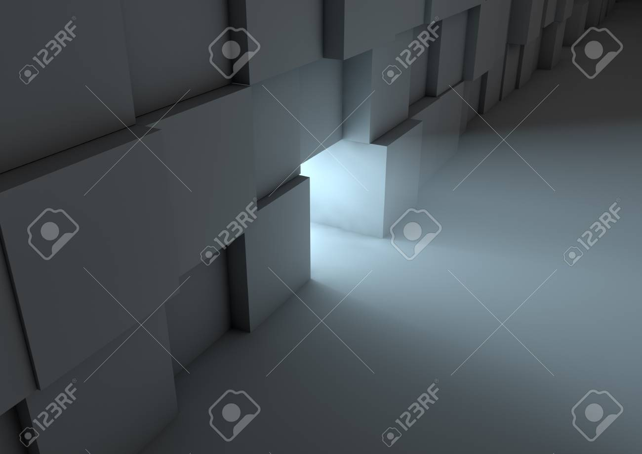 render of a wall made of cubes with a hole in it Stock Photo - 10738077