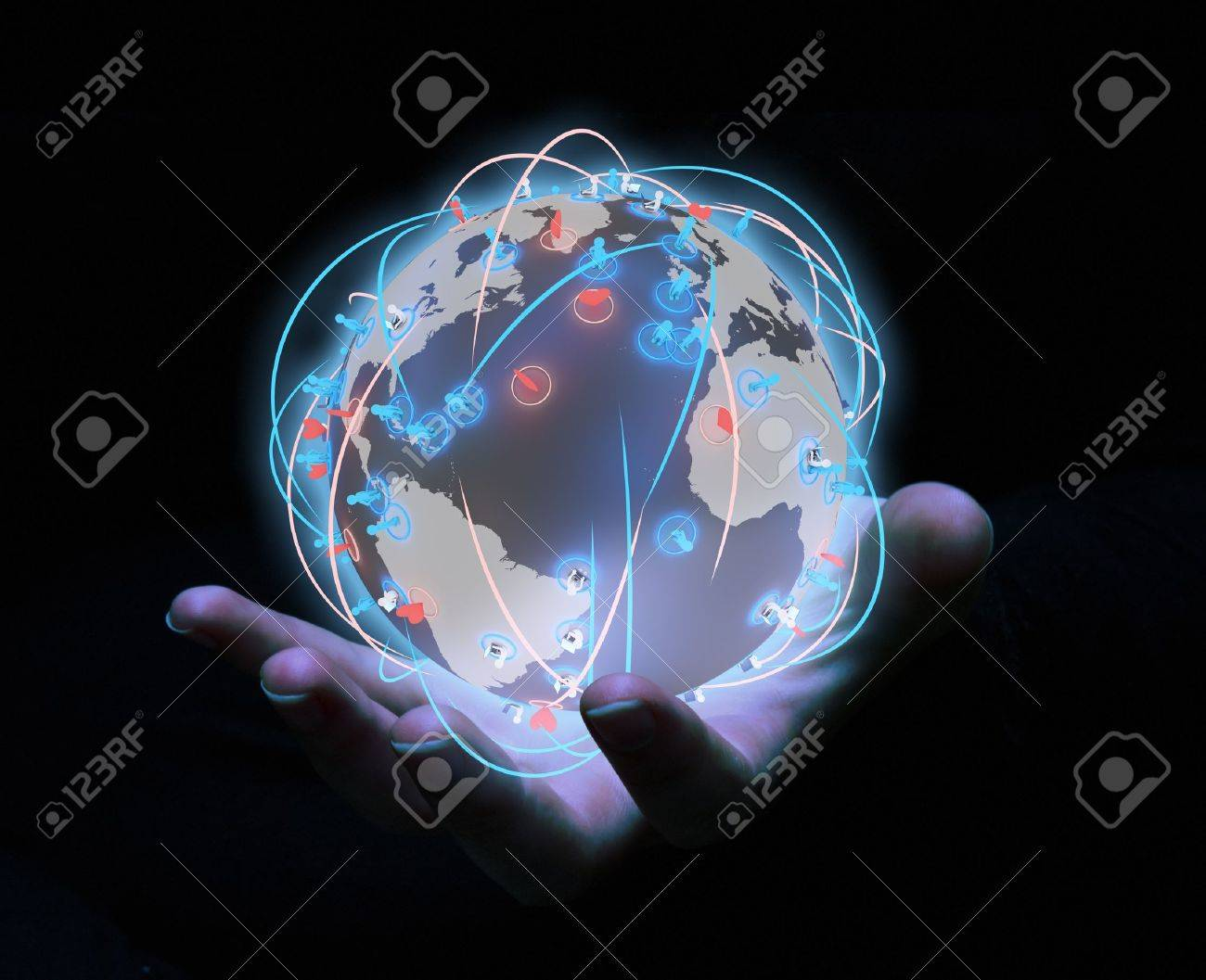 render of a global network of hearts and people Stock Photo - 10961159