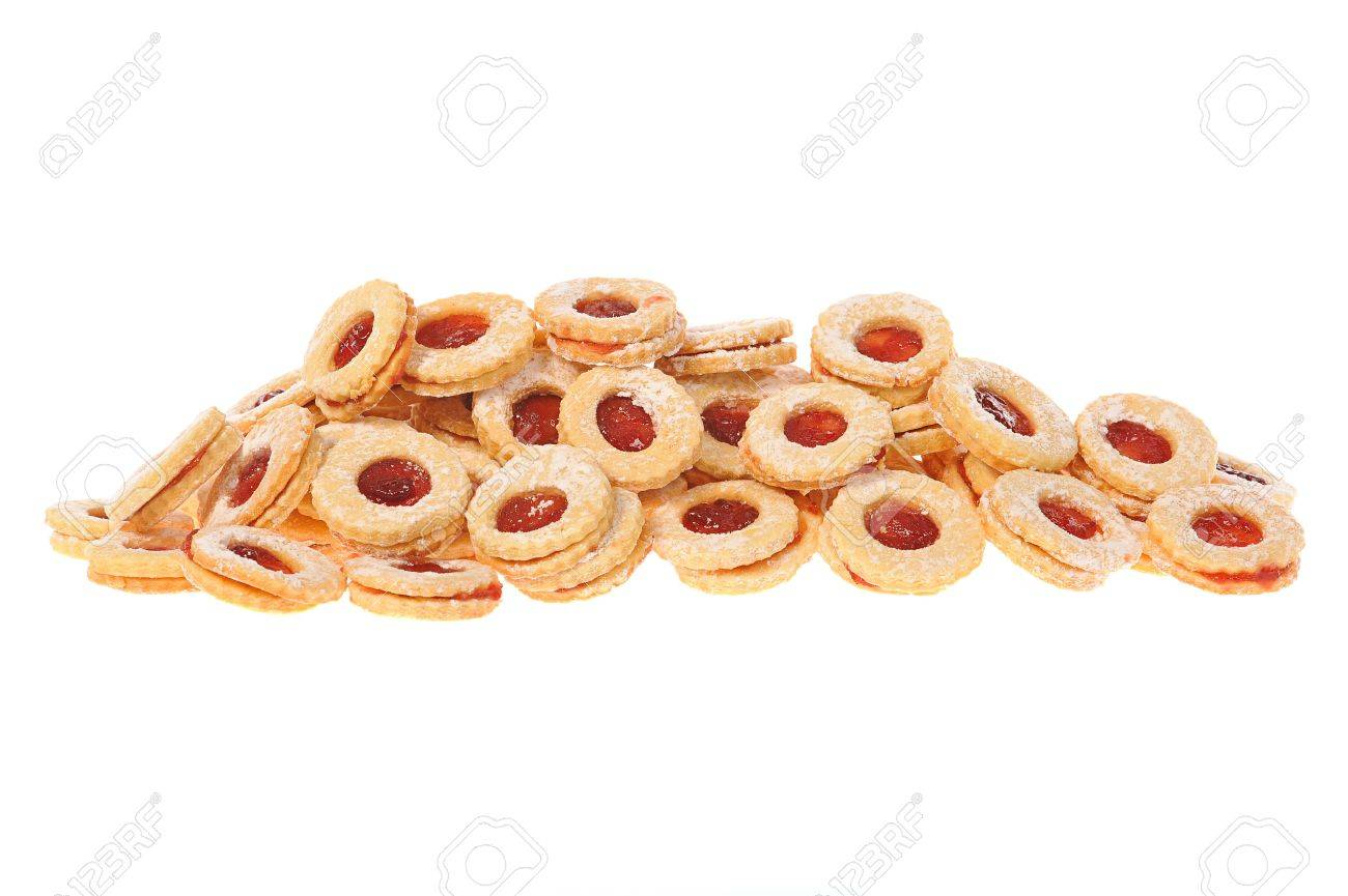 Some beautiful homemade Christmas cookies, isolated on white. Stock Photo - 4831290