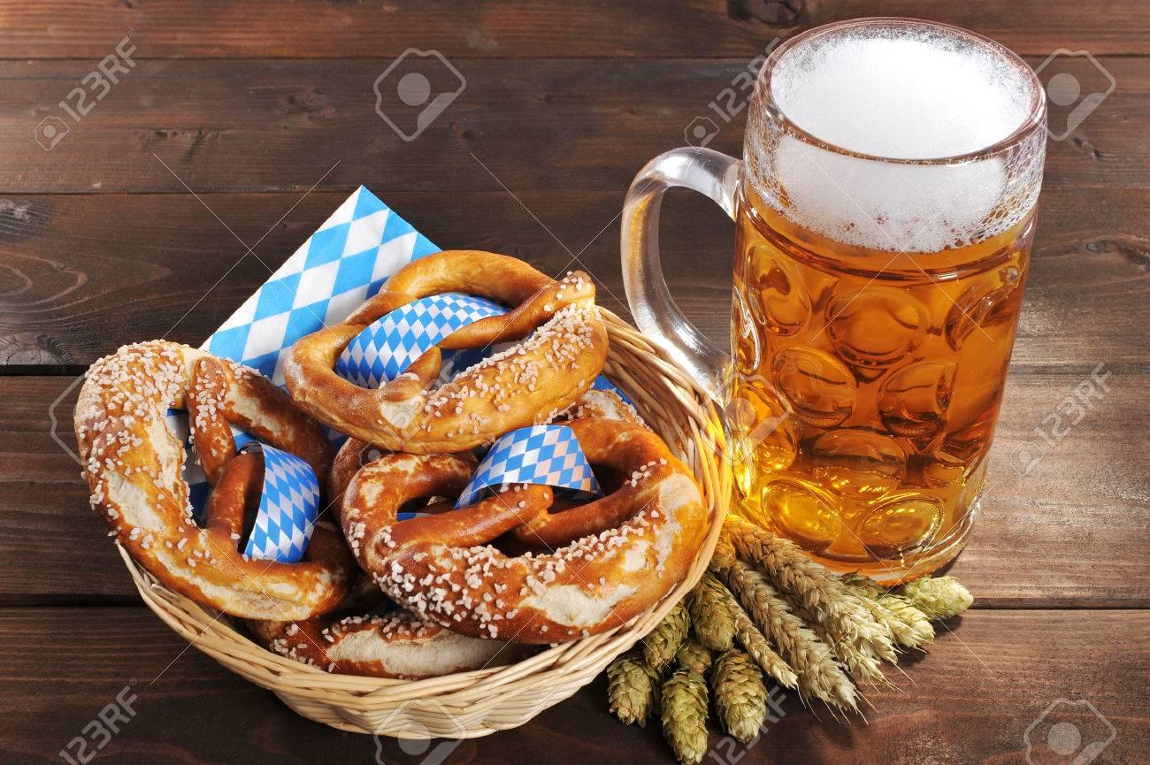 original bavarian oktoberfest pretzels salted soft in a basket
