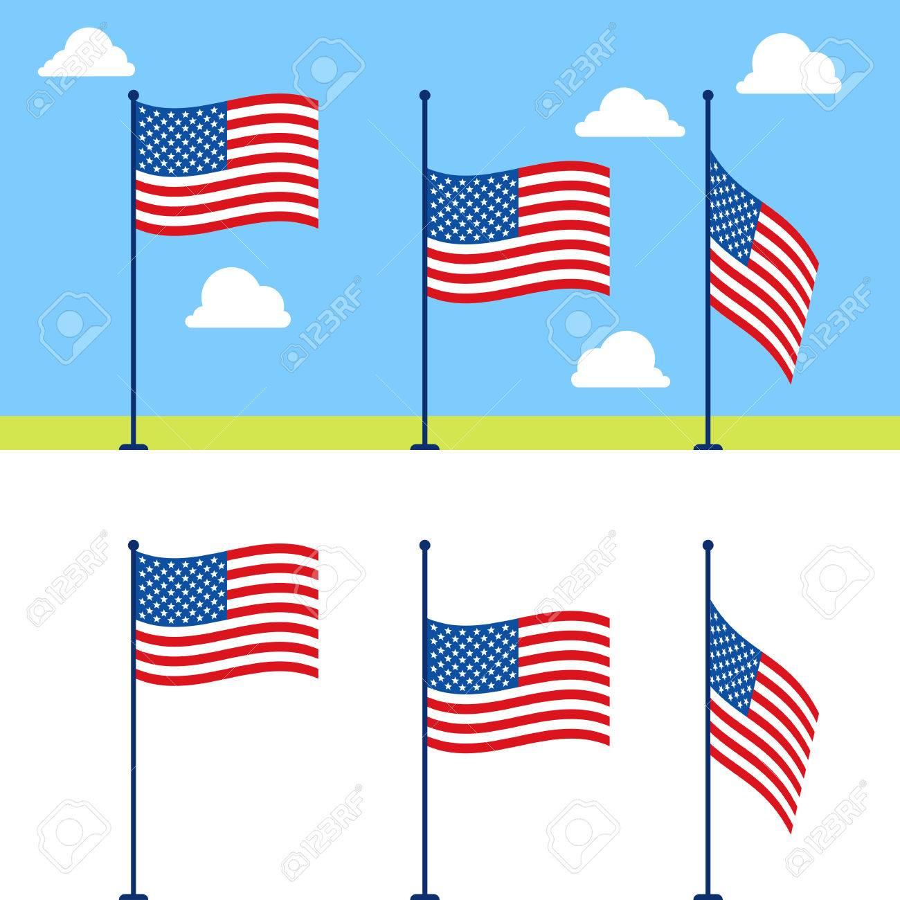 flat usa flags set united states flag color illustration on rh 123rf com US Flag Vector Clip Art US Flag Vector Clip Art