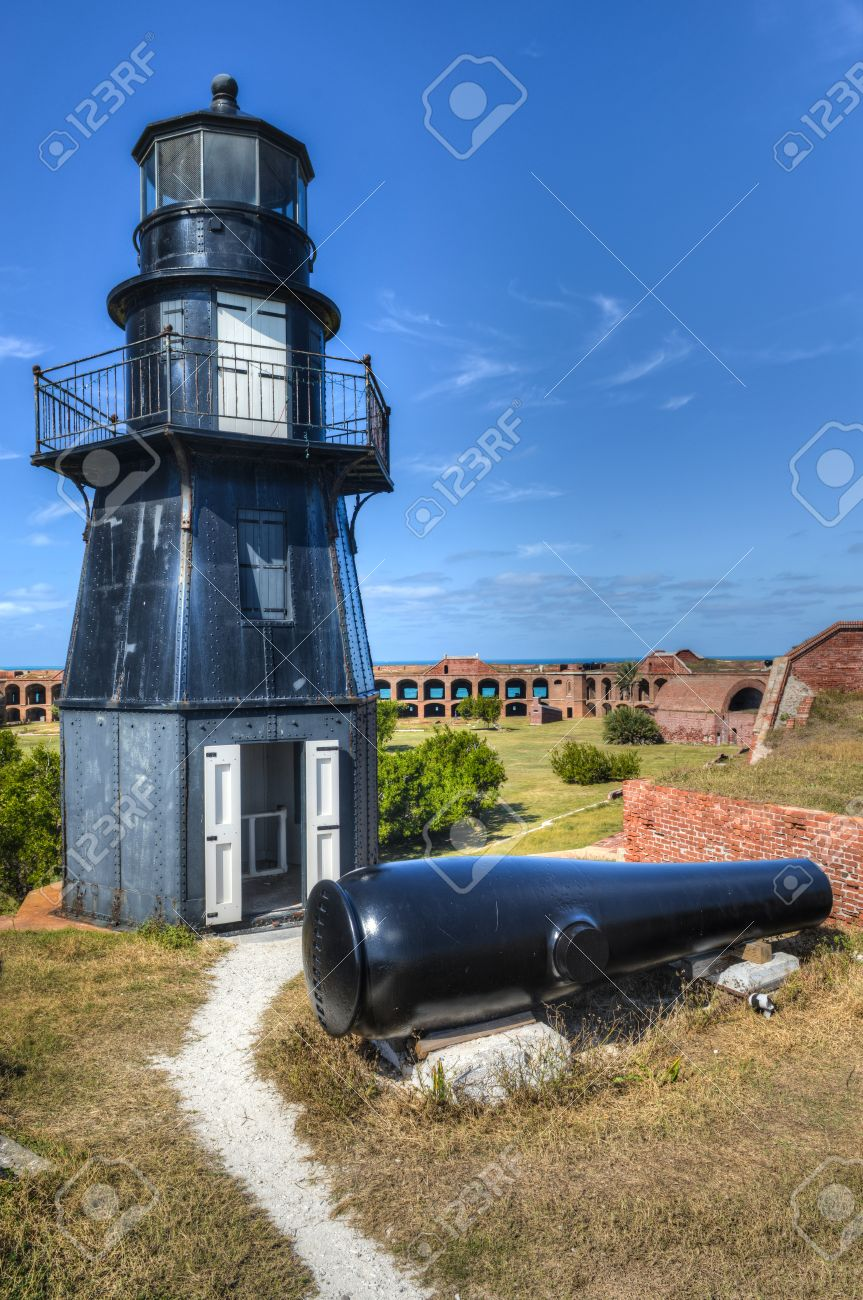 Garden Key Lighthouse at Fort Jefferson in Dry Tortugas National..