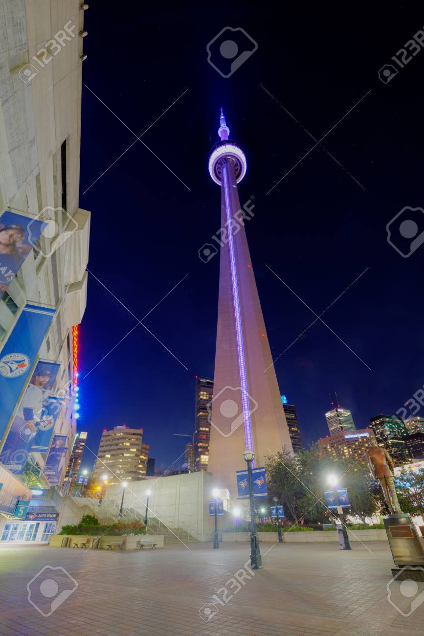 Toronto Canada June 14 2014 Toronto Cn Tower At Night The Stock Photo Picture And Royalty Free Image Image 30815659