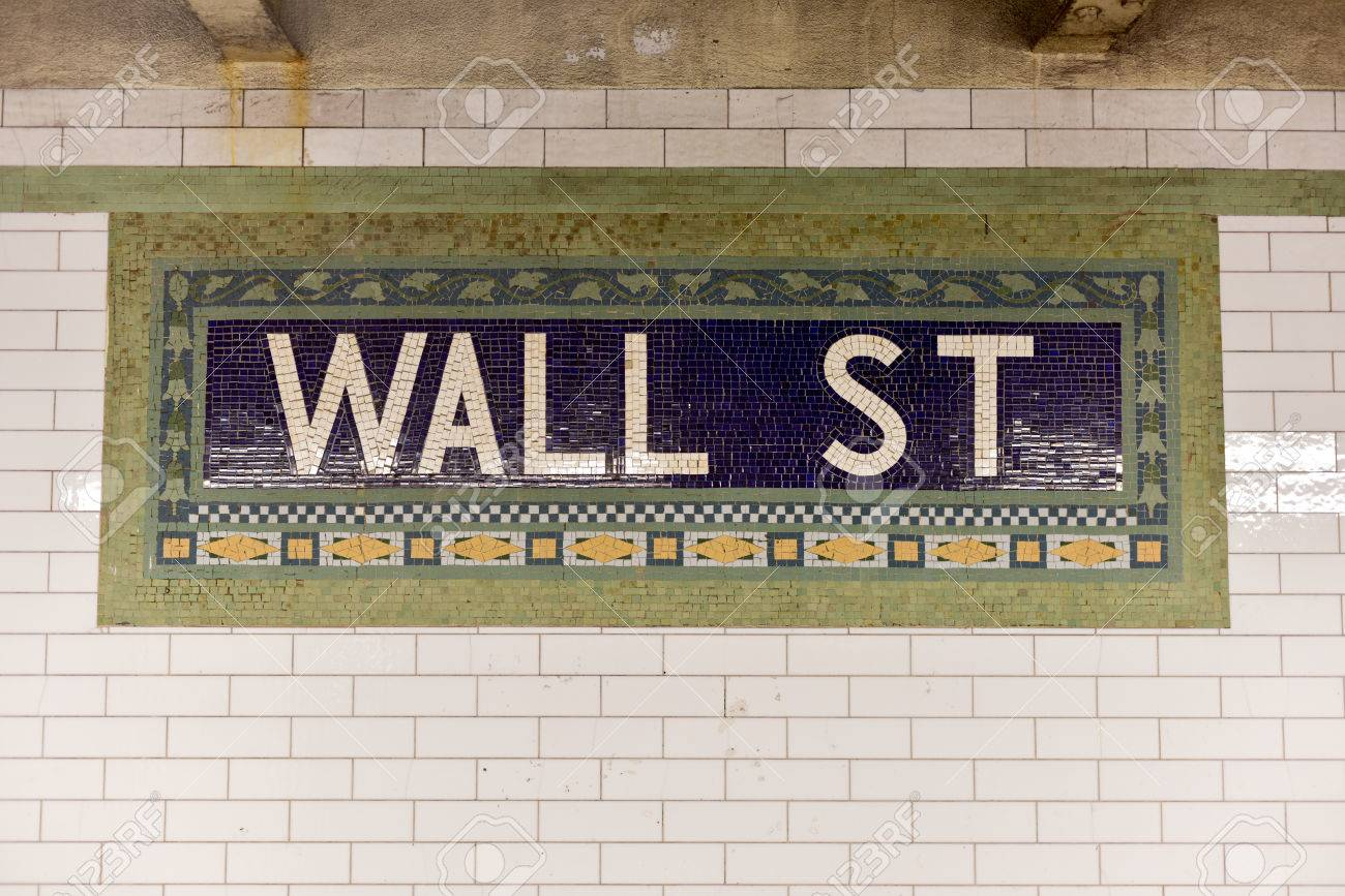 Wall street subway sign tile pattern in new york city manhattan wall street subway sign tile pattern in new york city manhattan station stock photo dailygadgetfo Choice Image