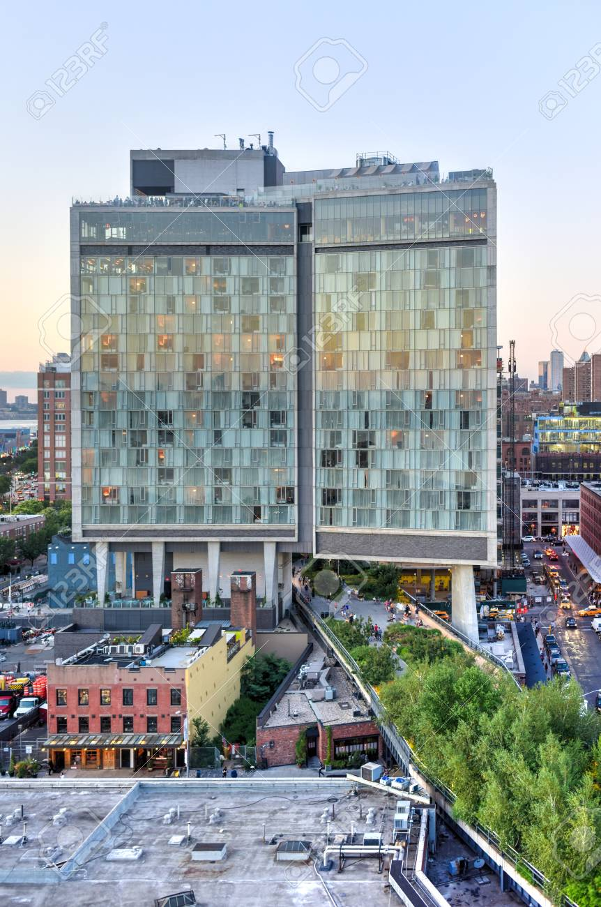 New York City - August 7, 2015: View across Manhattan Meatpacking District and Chelsea from above, at sunset with The Standard Hotel in view. - 43802279